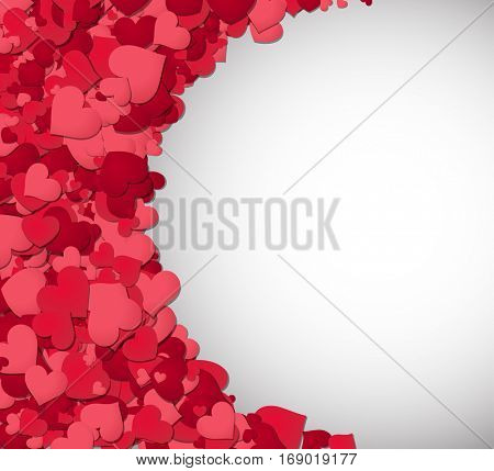 Love valentine's background with pink hearts. Vector paper illustration.