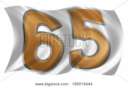 In The Wind Fluttering The Flag With Numeral 65, Sixty Five, Isolated On White Background, 3D Render