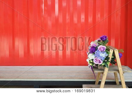 Modern home and shop design with flowers on wooden shelf decor.Containerization background