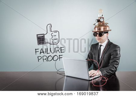 Failure proof text with vintage businessman using laptop at office