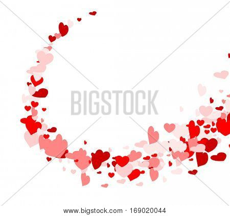 Valentine's love background with whirl of hearts. Vector paper illustration.