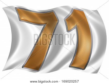 In The Wind Fluttering The Flag With Numeral 71, Seventy One, Isolated On White Background, 3D Rende