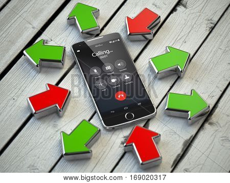Incoming and outgoing calls, syncronization. Mobile phone and arrows. Communication technology concept. 3d illustration