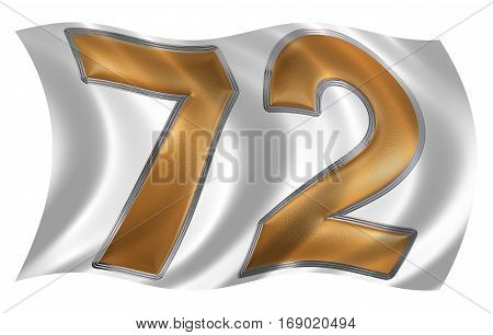 In The Wind Fluttering The Flag With Numeral 72, Seventy Two, Isolated On White Background, 3D Rende
