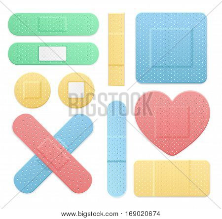 Aid Band Plaster Medical Patch Color Set. Different Types Web Design Element Vector illustration