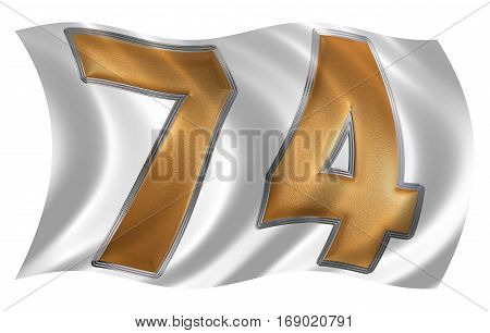 In The Wind Fluttering The Flag With Numeral 74, Seventy Four, Isolated On White Background, 3D Rend
