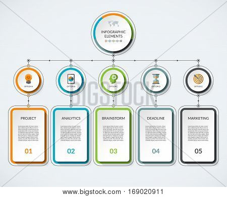 Infographic template with 5 option circles and columns. Modern minimalistic vector banner what can be used as chart diagram graph table workflow layout for web report business presentation