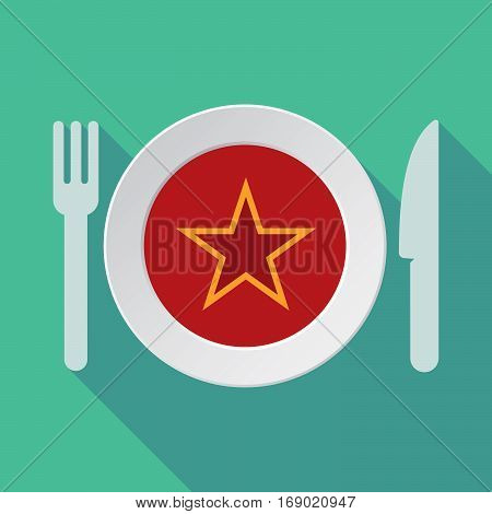 Long Shadow Tableware With  The Red Star Of Communism Icon