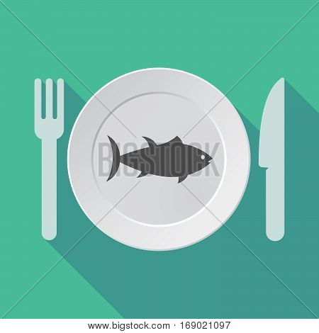 Long Shadow Tableware With  A Tuna Fish