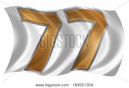 In The Wind Fluttering The Flag With Numeral 77, Seventy Seven, Isolated On White Background, 3D Ren