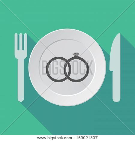 Long Shadow Tableware With  Two Bonded Wedding Rings