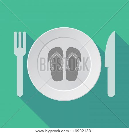 Long Shadow Tableware With   A Pair Of Flops