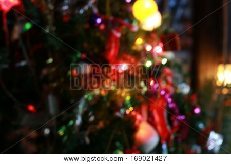 Colorfull Background With Christmas Lights In Boken.