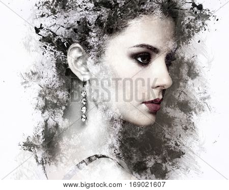 Fashion portrait of young beautiful woman with jewelry. Beauty style woman with diamond accessories. Watercolor painting