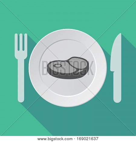 Long Shadow Tableware With  A Steak Icon