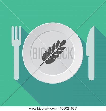 Long Shadow Tableware With  A Wheat Plant Icon