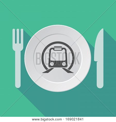 Long Shadow Tableware With  A Subway Train Icon