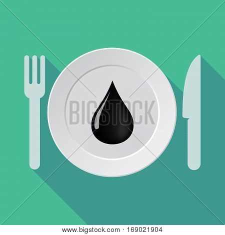 Long Shadow Tableware With  An Oil Drop Icon