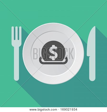 Long Shadow Tableware With  A Dollar Coin Entering In A Moneybox