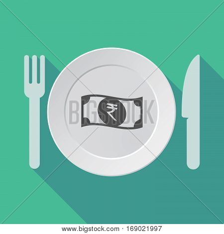 Long Shadow Tableware With  A Rupee Bank Note Icon