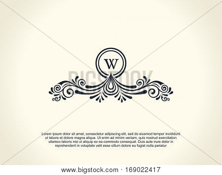 Calligraphic Luxury line logo. Flourishes elegant emblem monogram. Royal vintage divider design. Black symbol decor for menu card, invitation label, Restaurant, Cafe, Hotel. Vector line letter W