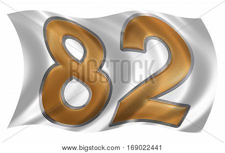 In The Wind Fluttering The Flag With Numeral 82, Eighty Two, Isolated On White Background, 3D Render