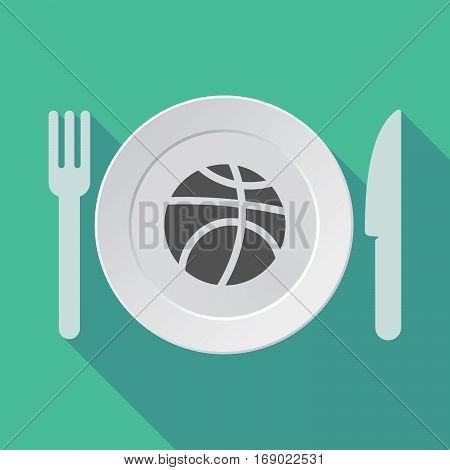 Long Shadow Tableware With  A Basketball Ball