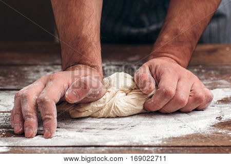 Bread Making Dough Knead Pastry Bakery Kitchen Man Cooking Process Concept
