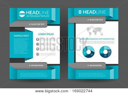 Blue brochure flyer layout template. A4 size. Front and back page. Vector background with business icons and infographic elements. Can be used for cover design leaflet booklet annual report