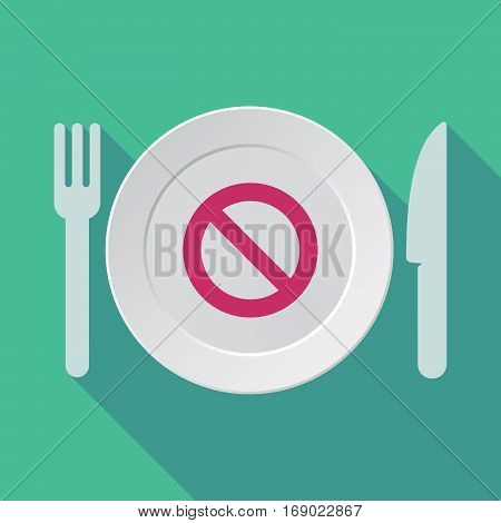 Long Shadow Tableware With  A Forbidden Sign