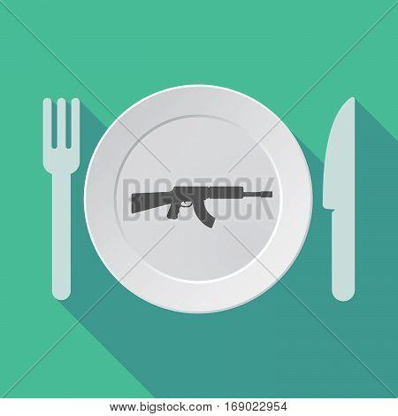 Long Shadow Tableware With  A Machine Gun Sign