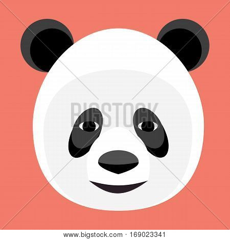 Baby panda face logo template. Baby panda face icon. Asian bear. Panda head isolated on white background