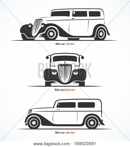 Set of retro car silhouettes. Vintage or classic car illustrations. Front side and three-quarter view. Vector background