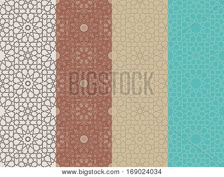 Seamless islamic Moroccan pattern set. Arabic geometric ornament. Geometric tiled texture. Vintage repeating background. Vector islam royal pattern. Oriental design and Ramadan wallpaper