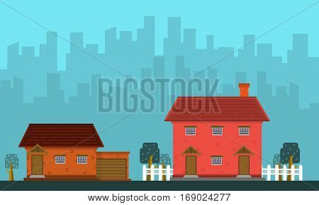 Landscape of house with building vector collection stock