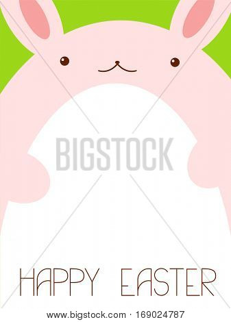 Vector background with pink Easter rabbit and white egg on green background