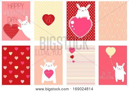 Collection of Valentine's day banner, background, placard in hand drawn style with cute rabbit. Holiday poster set for scrapbooking. Vector template card for greeting, decoration, congratulation,
