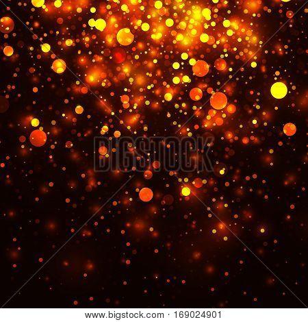 Vector gold glowing light glitter background. Christmas golden magic lights background. Star burst on dark background