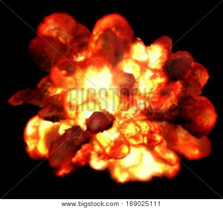 Explosion fire isolated on black background. Detonation bomb as game design element. Flame consist of orange, yellow and red colors. Blasting burning gases methane or propane.