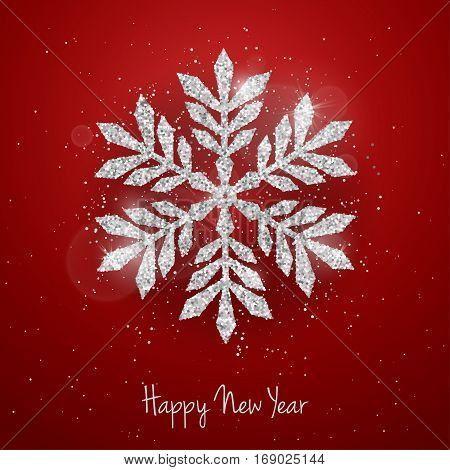 Vector Christmas New Year greeting card with sparkling glitter silver textured snowflake on red background. Seasonal holidays background
