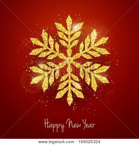Vector Christmas New Year greeting card with sparkling glitter golden textured snowflake on red background. Seasonal holidays background
