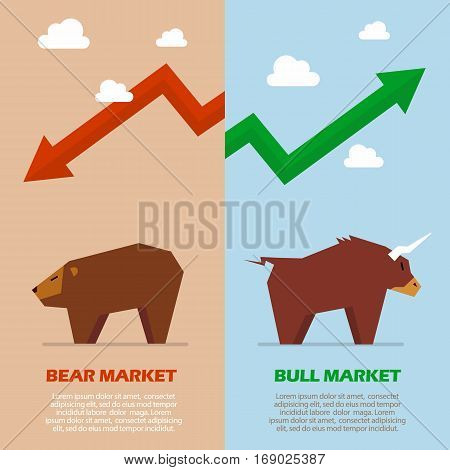 Bull and bear symbol of stock market infographic. Business concept