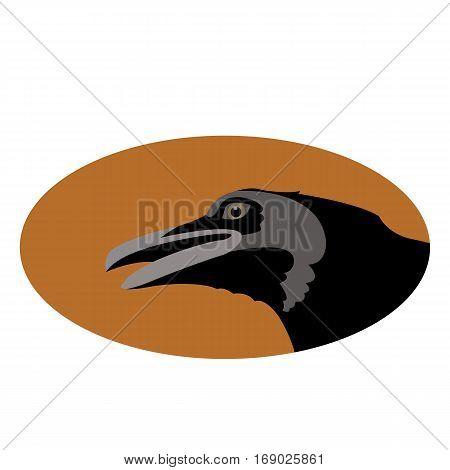 Crow head face   vector illustration style Flat