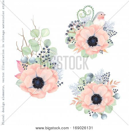 Floral decorations with flowers Anemones, leaves, branches, wild Privet Berry and Robin bird, vector floral illustration in vintage watercolor style.