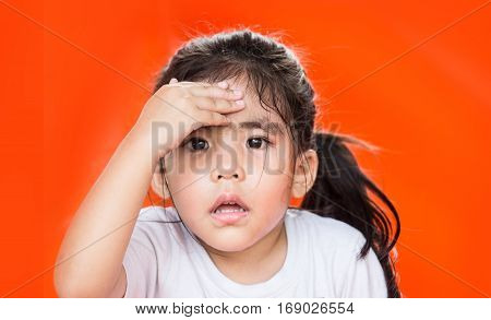 Asian Girl Play On Red Background