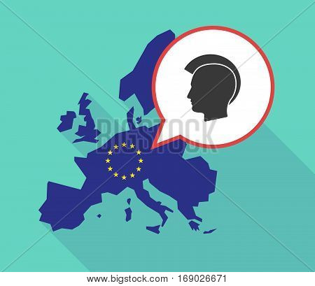 Map Of The Eu Map With  A Male Punk Head Silhouette