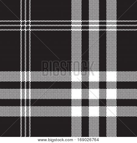Black and white check pixel square fabric texture seamless pattern. Vector illustration.
