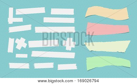 Sticky, adhesive masking tape, ripped note paper stuck on blue squared background.