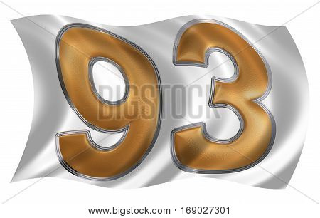 In The Wind Fluttering The Flag With Numeral 93, Ninety Three, Isolated On White Background, 3D Rend