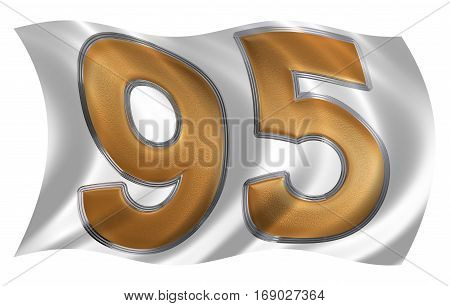 In The Wind Fluttering The Flag With Numeral 95, Ninety Five, Isolated On White Background, 3D Rende